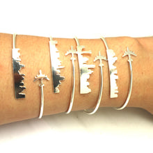 Load image into Gallery viewer, Personalized Airplane Skyline Bracelet Bangle