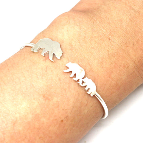 Silver Mother and 2 Daughters Bear Bracelet