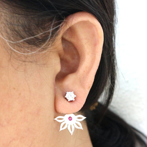 Silver Flower Ear Jacket Stud Earring