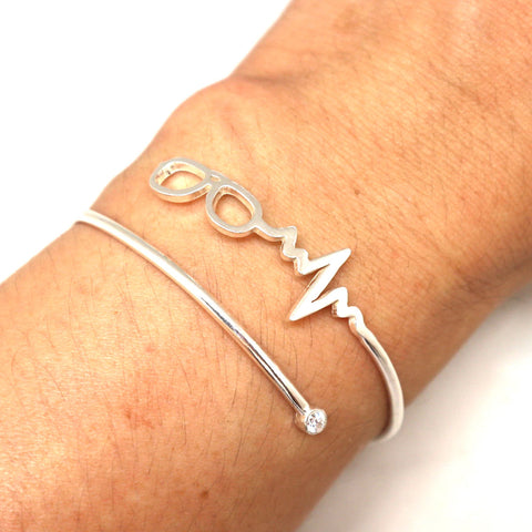 Optometrist Eye Glasses Heartbeat Bracelet