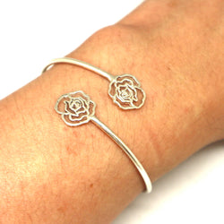 Silver Flower Rose Bracelet Bangle