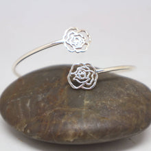 Load image into Gallery viewer, Silver Flower Rose Bracelet Bangle