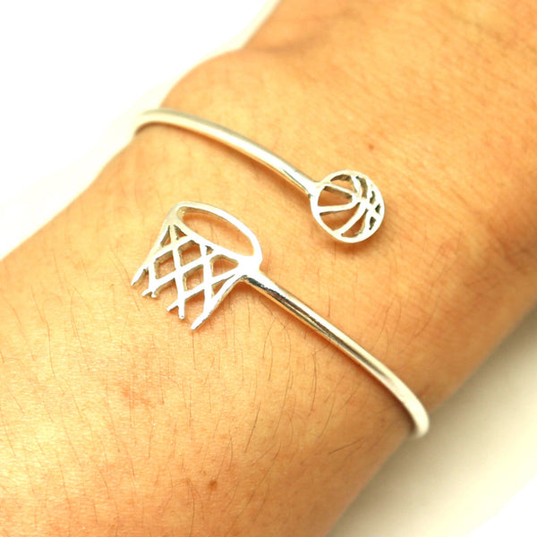Silver Basketball Rim and Net Bracelet Bangle