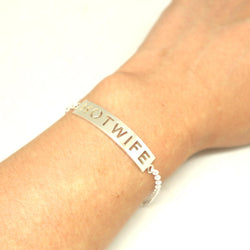 Silver Hotwife Bar Bracelet Bangle