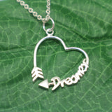 Dreamer Inspirational Quote Arrow Necklace