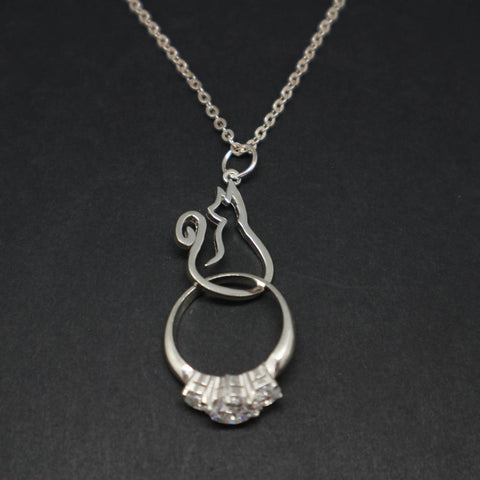 Sterling Silver Cat Ring Holder Necklace Pendant