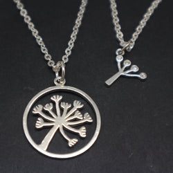 Silver Dandelion Necklace Mother Daughter