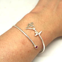 Load image into Gallery viewer, Silver Music Note Heartbeat Bracelet