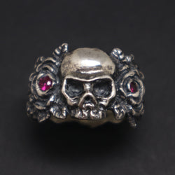 Silver Skull and Rose Ring