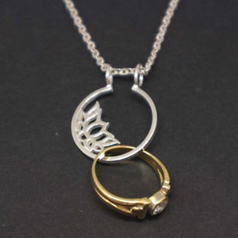 Silver Lotus Flower Ring Holder Necklace