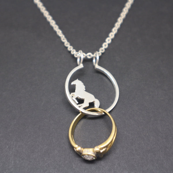 Silver Horse Ring Holder Necklace