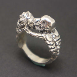 Silver Kiss of Death Skull Ring