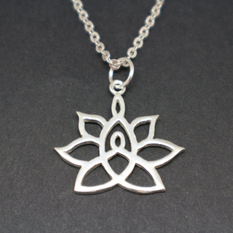 Mother and Child Knot Lotus Necklace