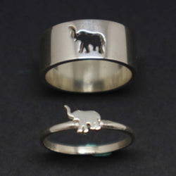 Elephant Engagement Ring Set