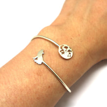 Load image into Gallery viewer, Silver Lone Wolf and Moon Bracelet