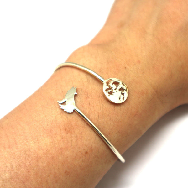 Silver Lone Wolf and Moon Bracelet