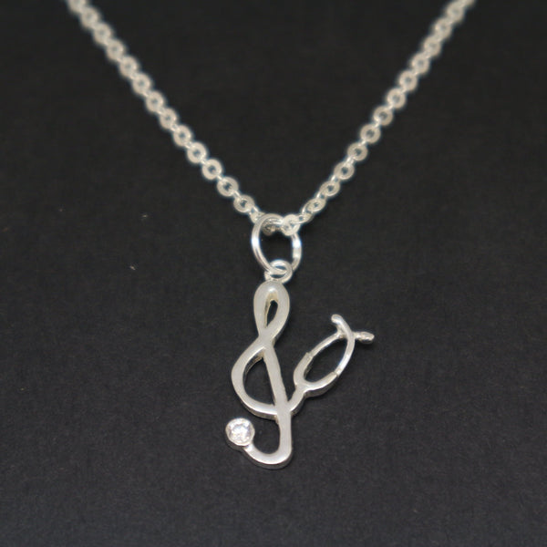 Stethoscope Music Note Nursing Necklace