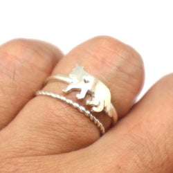 Silver Lone Wolf Ring