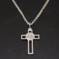 Basketball Cross Necklace
