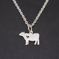 Silver Cow and Heart Necklace Pendant