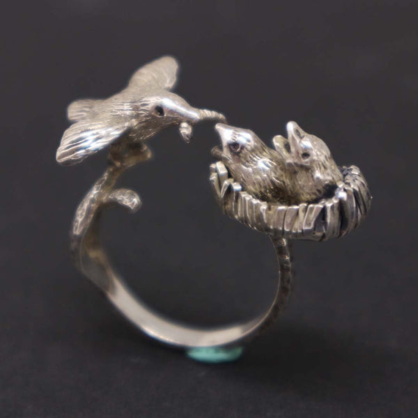 Mother and Child Hummingbird Ring