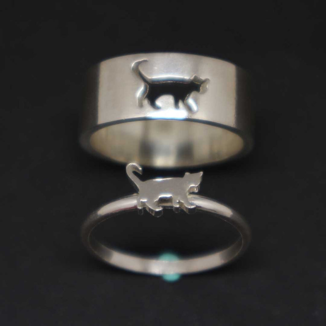Cat Couple Promise Rings Set