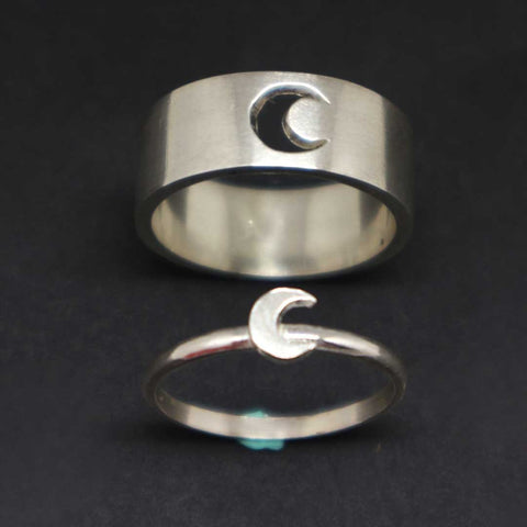 Silver Moon Couple Rings Set