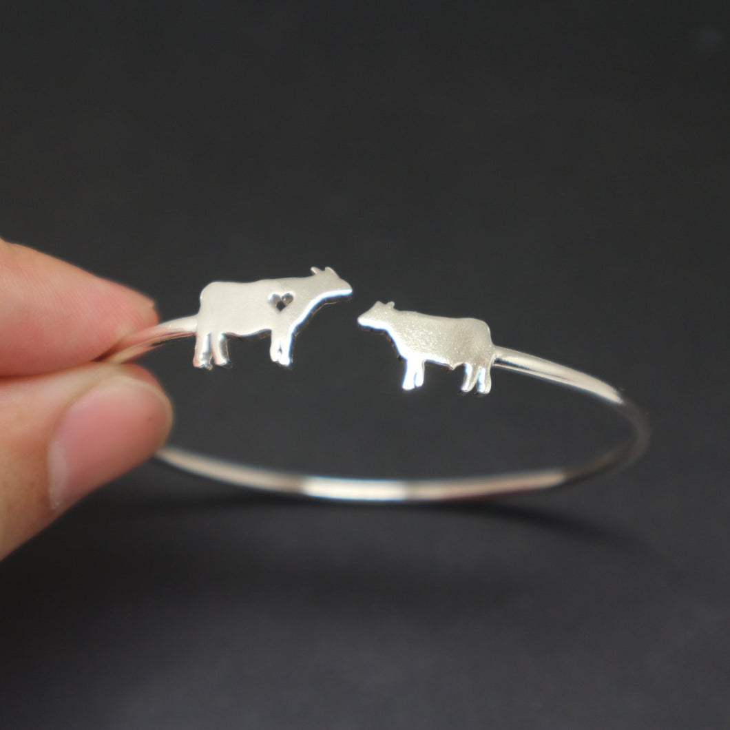 Silver Mother and Child Cow Bracelet