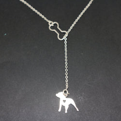 Pitbull Dog and Bone Y Lariat Necklace