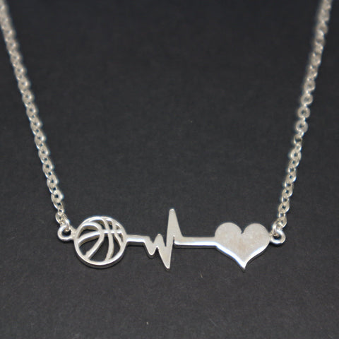 Basketball Heartbeat Heart Necklace
