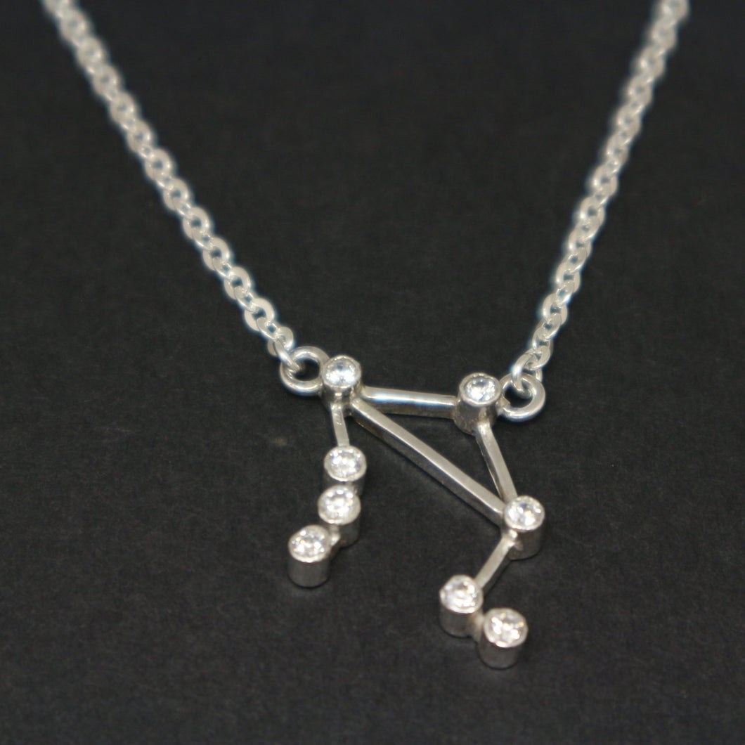 Sterling Silver Libra Constellation Necklace