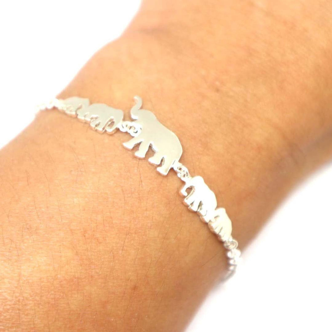 Silver 5 Elephants Family Chain Bracelet