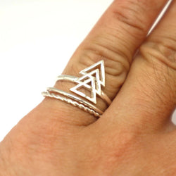 Silver Triple Triangle Ring