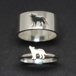 Wolf Couple Set Promise Ring
