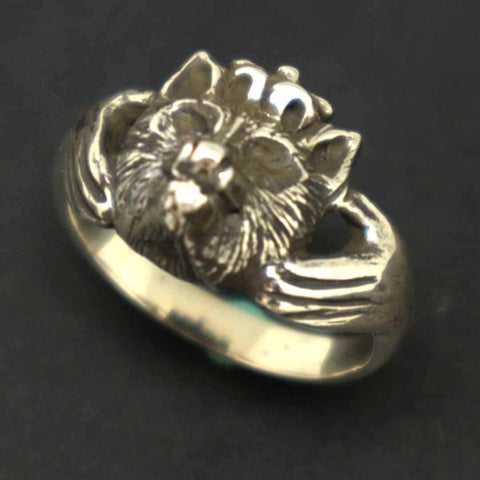 Unqiue Wolf Claddagh Statement Ring