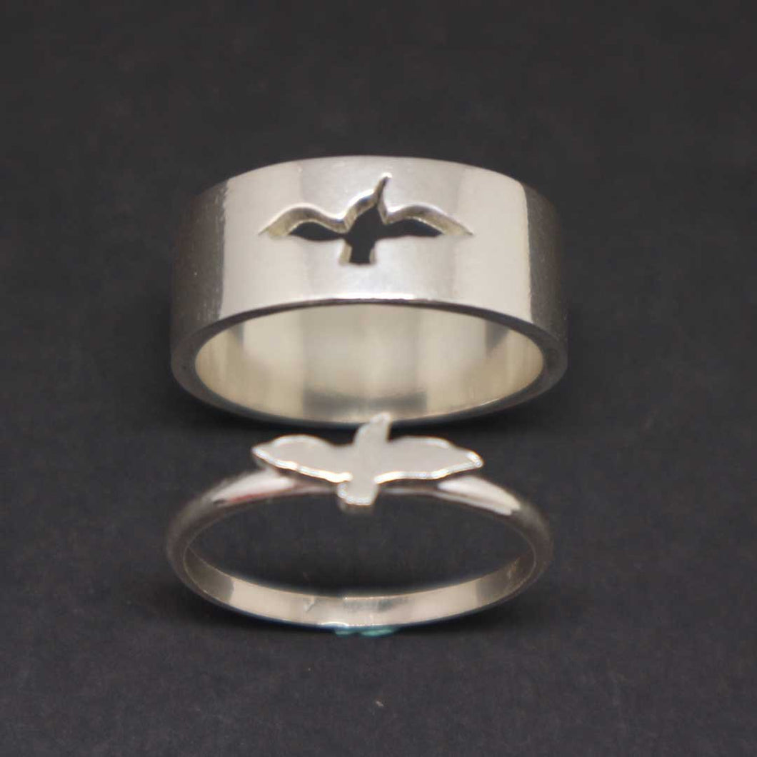 Bird Dove Couple Rings Set