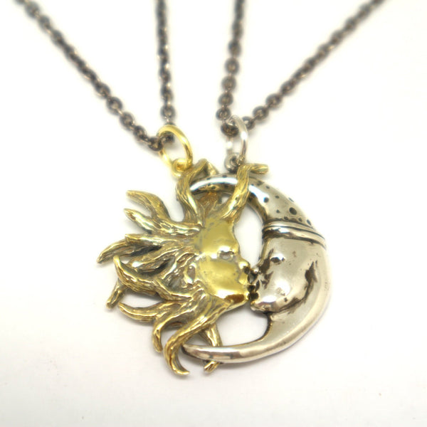 Sun and Moon Kissing Couple Necklaces