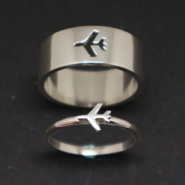Plane Couple Promise Ring Set