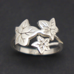 Silver Mother and Daughter Leaf Ring