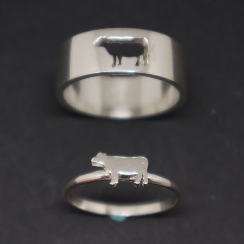 Cow Couple Set Promise Ring