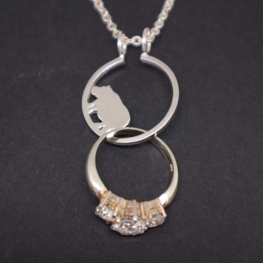 Silver Hippopotamus Ring Holder Necklace