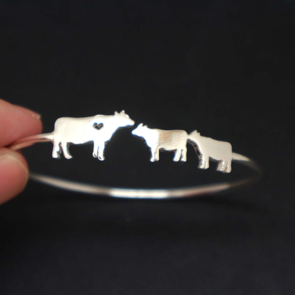 Silver Mother Daughter Cow Bracelet