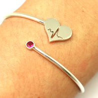 Silver Nurse Heartbeat Bracelet Bangle