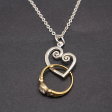 Load image into Gallery viewer, Spiral Heart Ring Holder Necklace