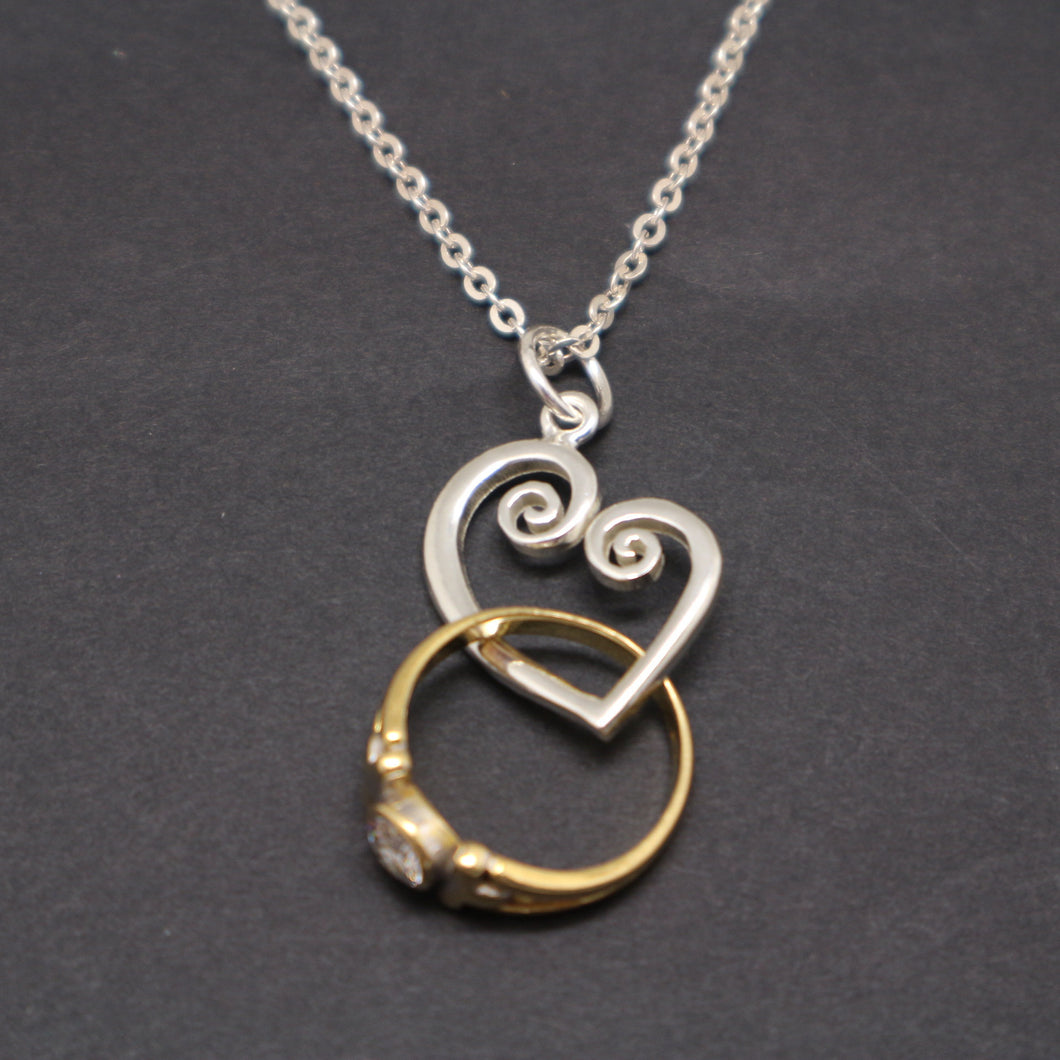 Spiral Heart Ring Holder Necklace