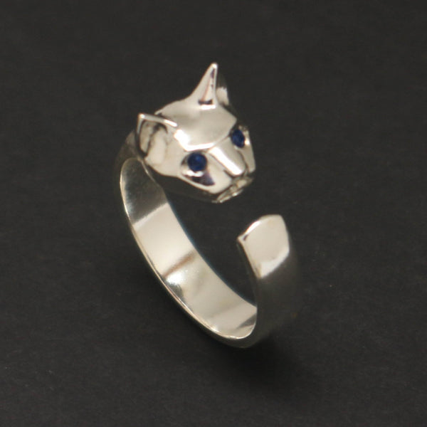 Silver Cat Head Ring