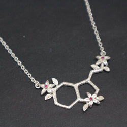 Serotonin and Flower Molecule Necklace