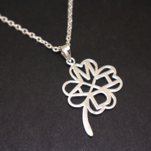 Personalized Initial Shamrock Necklace
