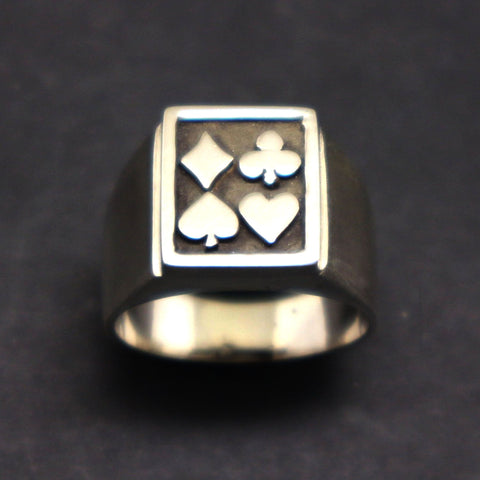Silver Poker Signet Ring