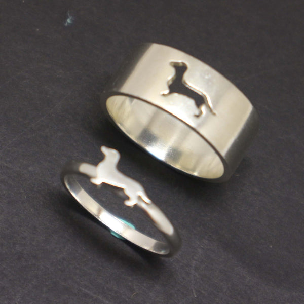Dachshund Dog Couple Rings